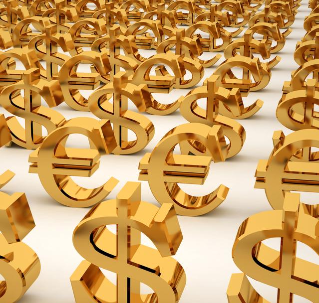 Zlaté eura a dolary za sebou v řadách