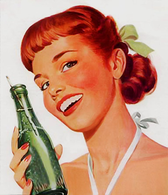 kreslený obrázek děvčete držící láhev s nápojem