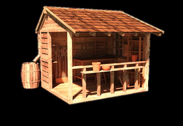 částečně uzavřený dřevěný altán