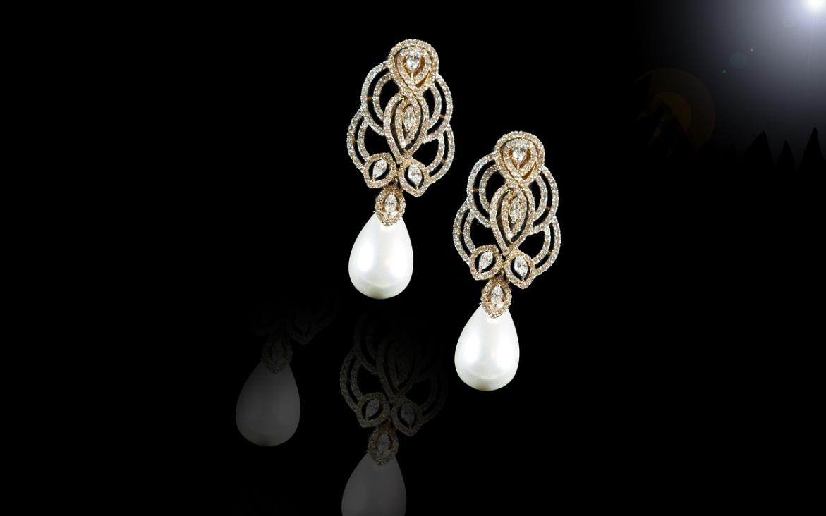 perlové náušnice stříbrné
